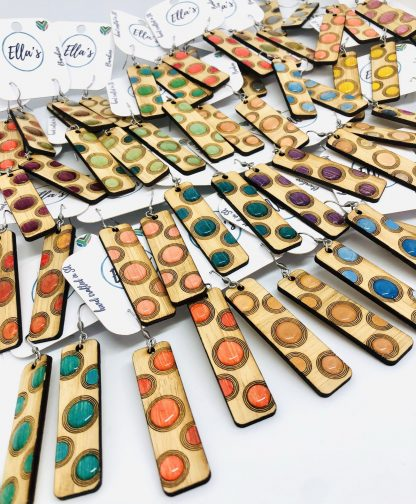 Long Rectangle shaped with engraved, hand painted & Resin Dots Bamboo Hanging Earrings